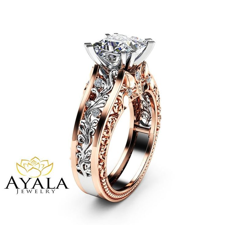 Art Deco Moissanite Engagement Ring Vintage 14K Two Tone Gold Ring Unique Princess Cut Engagement Ring