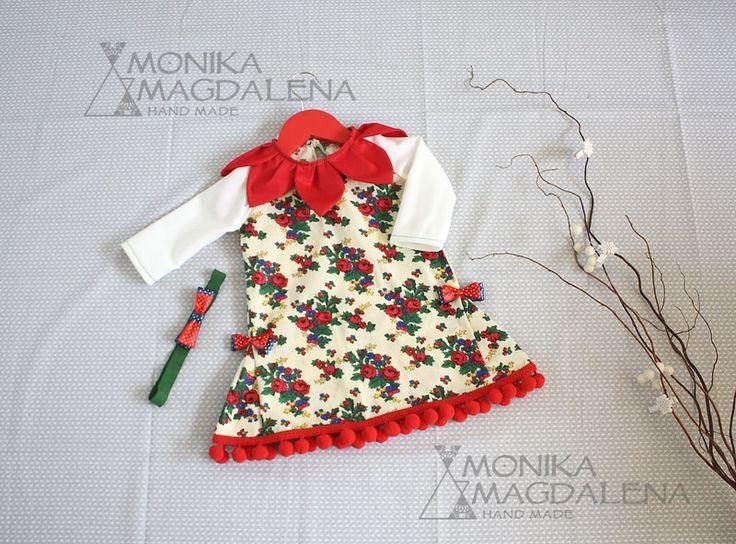 Sukienka dziewczęca - Czerwone Płatki + opaska - Monika_Magdalena - Sukienki dla niemowląt
