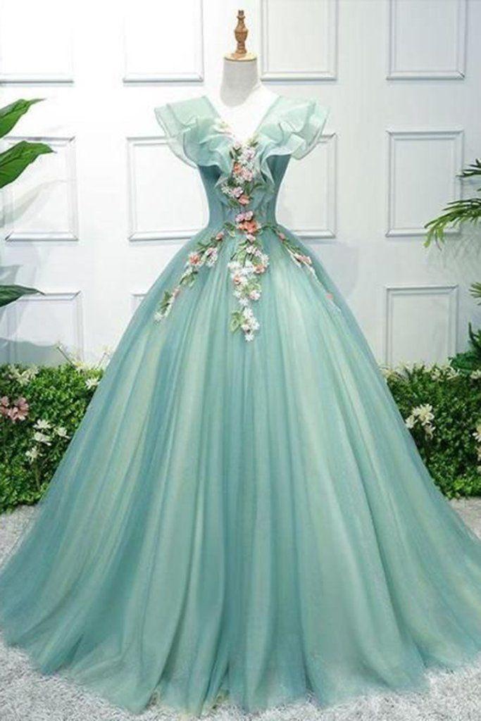 Green tulle v neck cap sleeve long a line senior prom dress with flower  appliqué f4b7c9d1bde8