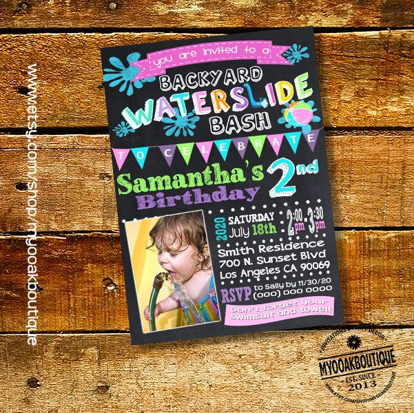 Waterslide Pool Backyard Bash Birthday Party Invitation Teal Pink Girl Photo Invite Chalkboard Digital Printable