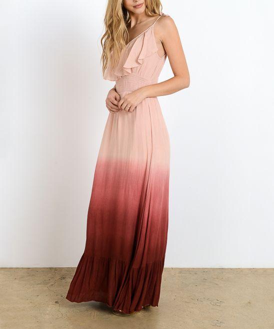Dusty Peach Ombré Maxi Dress