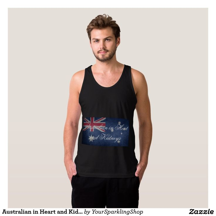 Australian in Heart & Kidneys, #Australia Men's American Apparel Fine Jersey Tank Top