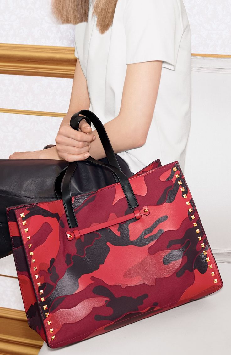 On the wishlist! Obsessed with the cargo print on this red Valentino 'Rockstud Camo' canvas and nappa leather tote.