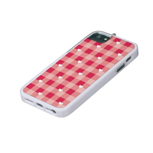 Seamless sweet red valentines background - checkered pattern or grid texture with white hearts full of love iPhone 5 case