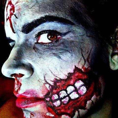 Zombie Halloween makeup. Pin-up inspired.