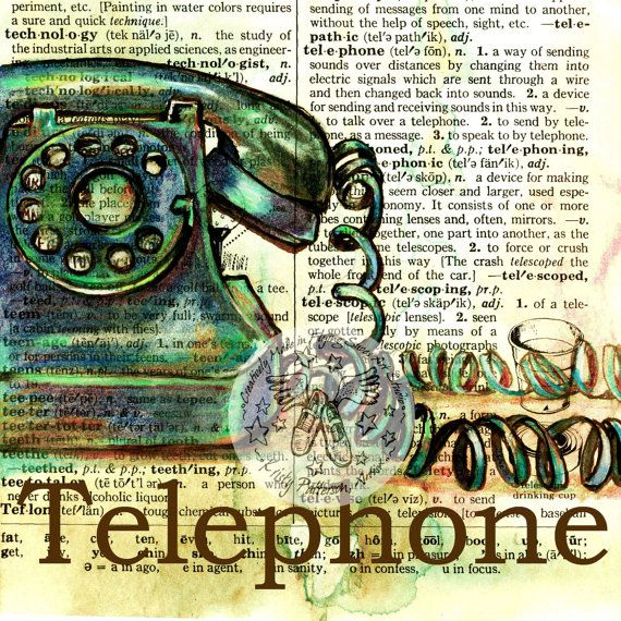 PRINT  Telephone Drawing on Distressed Dictionary by flyingshoes, $35.00