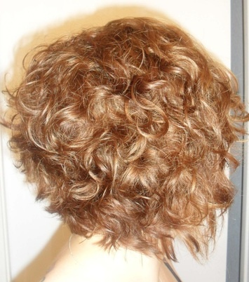 Layered Graduated Bob on Curly Hair/ Warm Medium Blonde with Highlights & low-lights