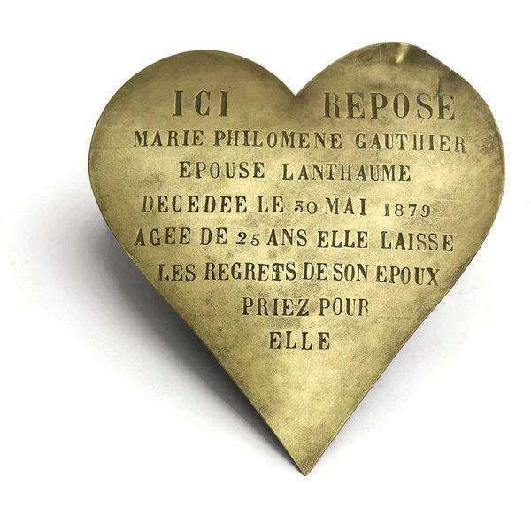 10% Off Antique Bronze Heart Grave Marker. French Memorial Plaque. (£155) ❤ liked on Polyvore featuring home, home decor and heart home decor