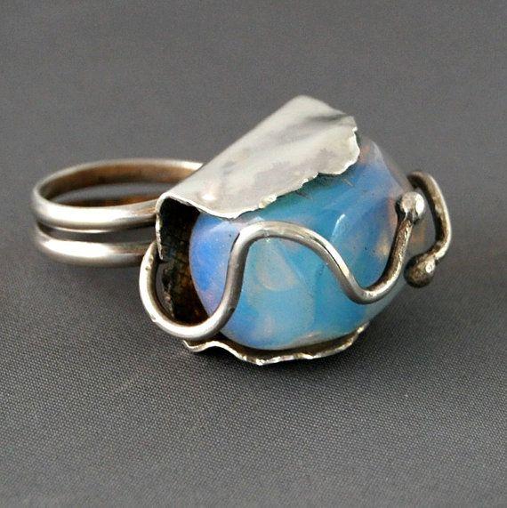 Sea Opal Silver Ring