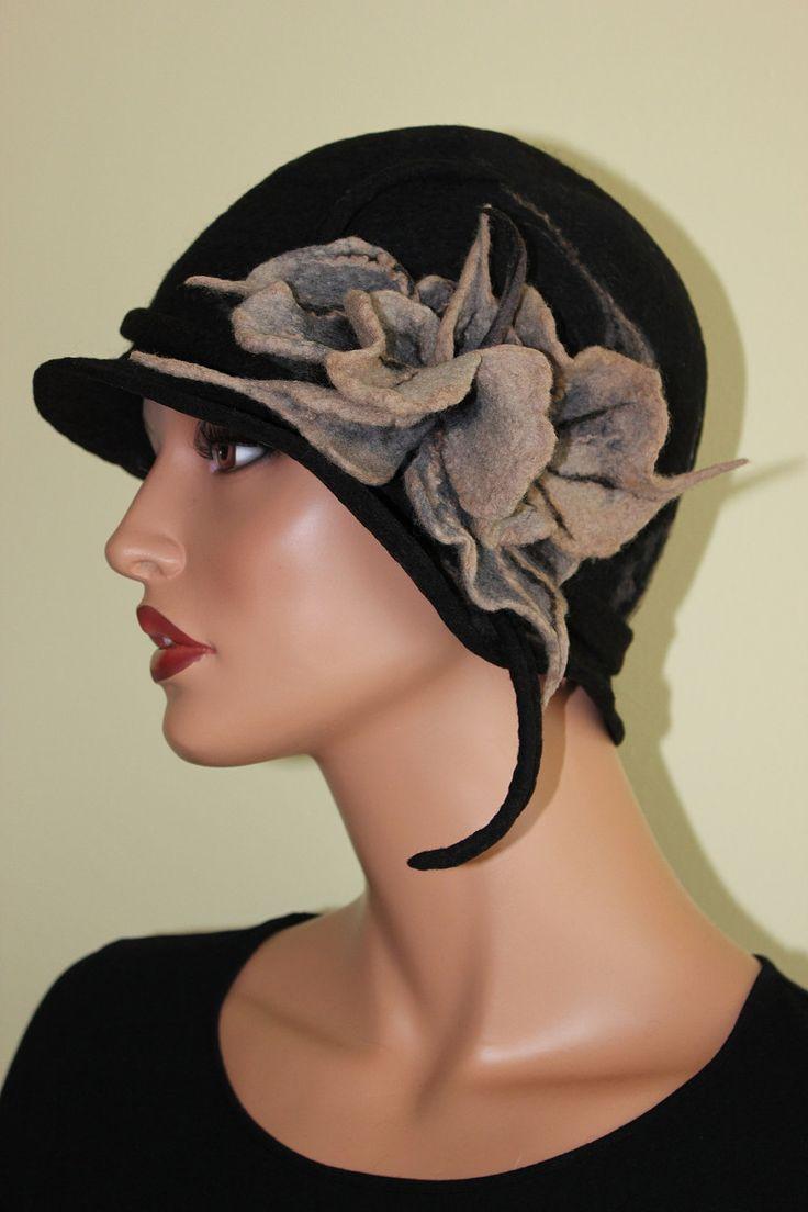 Felted hat black felt brooch grey beige unique decorated chic merino wool. $93.00, via Etsy.