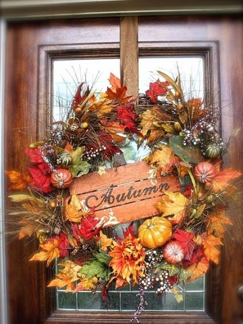 fall decorating ideas on pinterest | 47 Cute And Inviting Fall Front Door Décor Ideas | DigsDigs