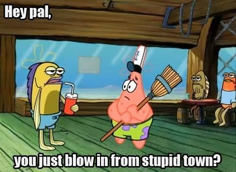 When Patrick was sweeping with the wrong end of the broom: