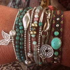 The Boho Garden  Love this!  I can never find bojo jewelry with silver accents.