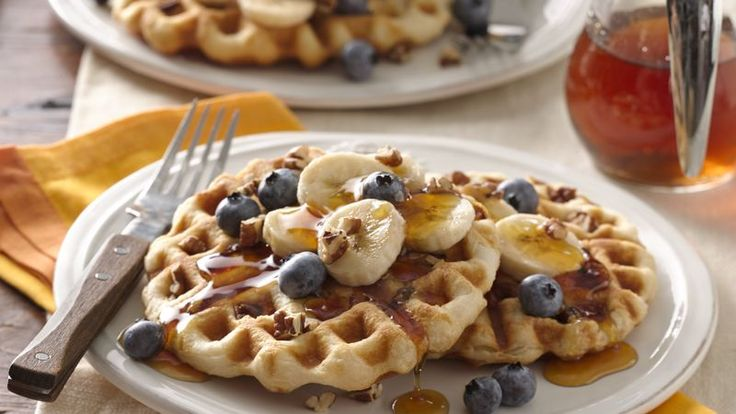 Frozen biscuits make great waffles since you can make as many as you want, and it's fun to have the pecans inside!