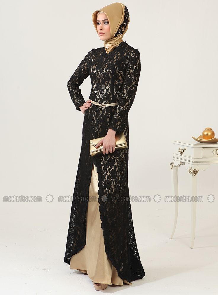 Dantel Kaplamalı Abiye Elbise - Siyah&Gold- Zehrace
