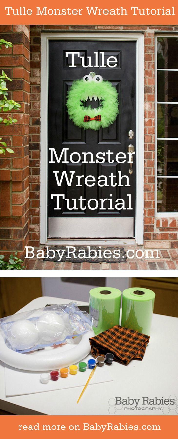 DIY Tulle Monster Wreath Tutorial via BabyRabies.com #halloween #diy #crafty #wreath