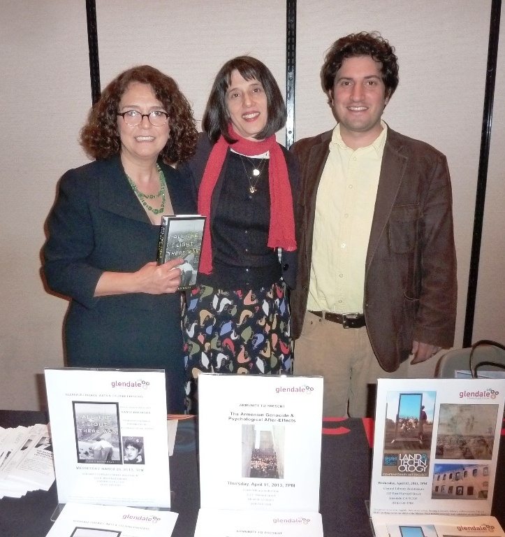 With Elizabeth Grigorian and Arno Yeretzian at the Glendale Public Library for book launch event, 20 March 2013