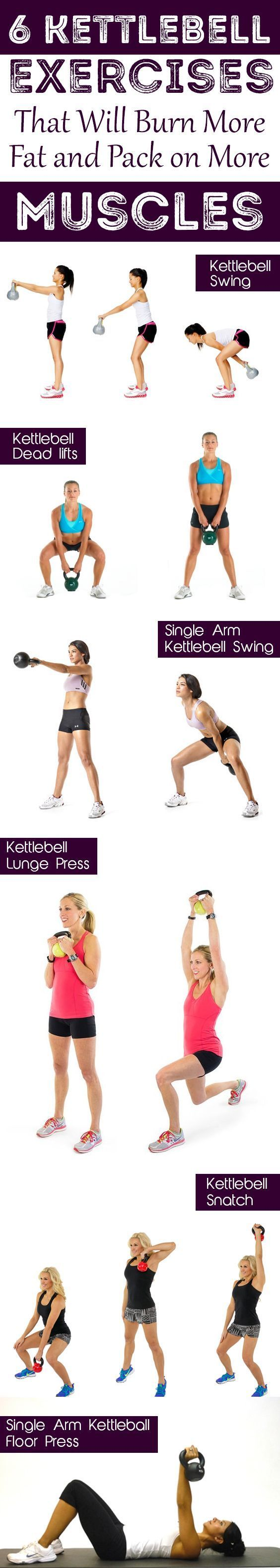 6 Kettlebell Exercises That Will Burn More Fat and Pack on More Muscles  Build strength, boost stamina, and blast fat with this kettlebell workouts #kettlebellworkout #kettlebell #wacceskettlebells