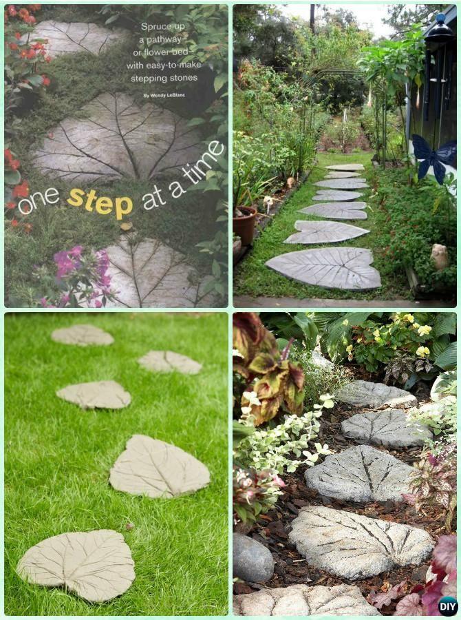 DIY Concrete Leaf Stepping Stone Instruction-DIY Big Rhubarb Leaf #Garden Projects