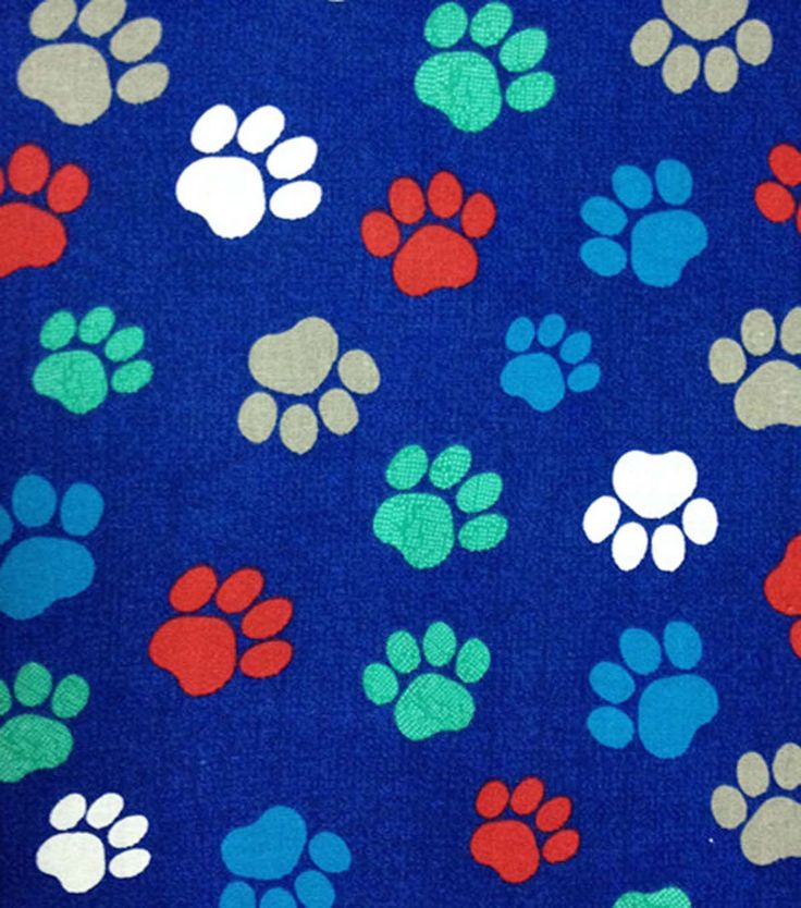 Novelty Cotton Fabric Paw Prints On Navy | Novelty fabric ...