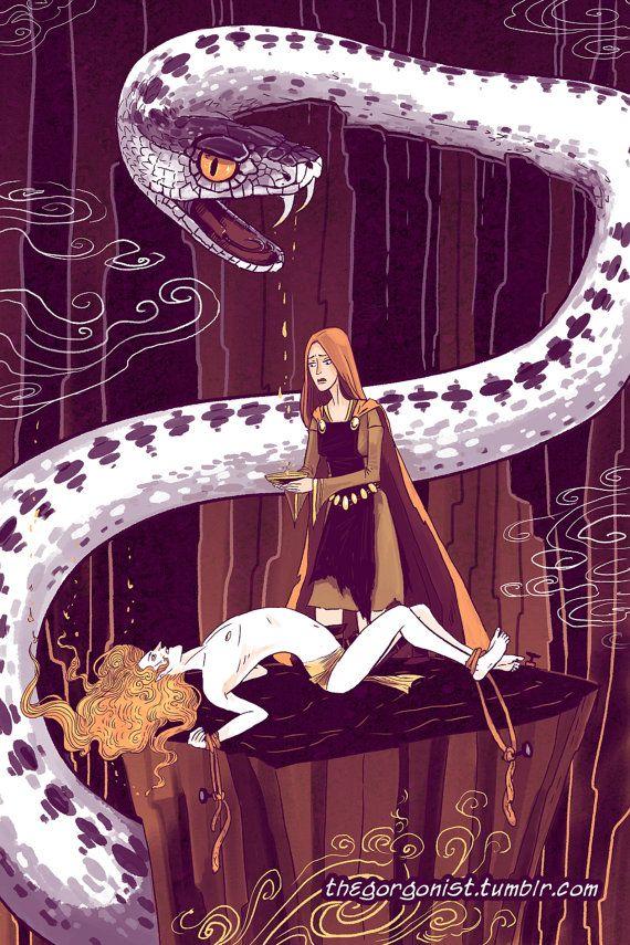 Sigyn y Loki 12 x 18 pulgadas cartel original mitología