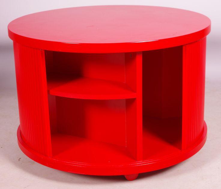BORD MED JALUSIER, rödlackerat trä/plast, 1970-tal.
