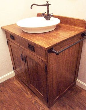 Mission Style Vanity.  Nice for powder room.