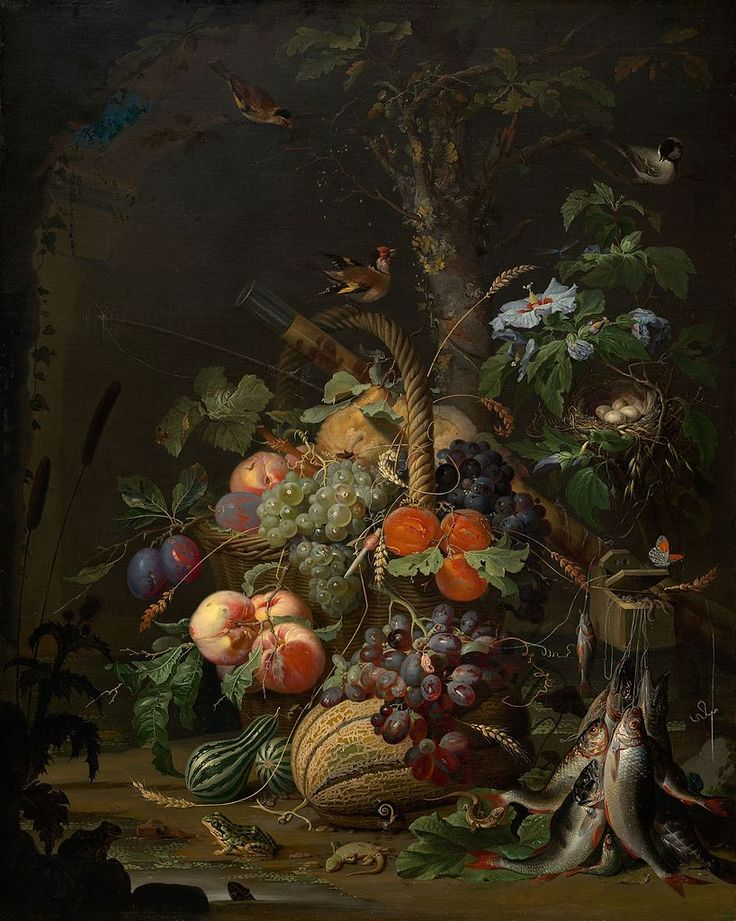 Abraham Mignon (1640–1679)   Still Life with Fruit, Fish, and a Nest circa 1675 oil on canvas 94 cm 73.5 cm National Gallery of Art, Washington, D.C.