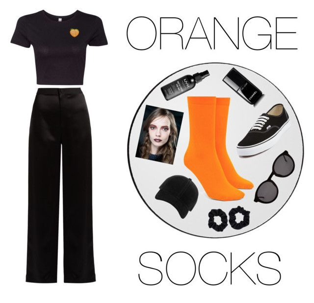 """ORANGE SOCKS are key with all black"" by annelenelala on Polyvore featuring Lanvin, AYTM, Vans, Forever 21, Thierry Lasry, rag & bone, Accessorize and Chanel"