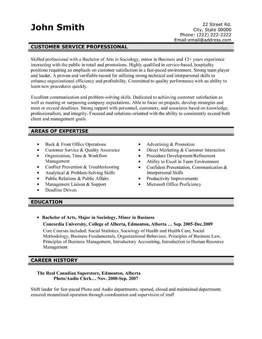 a professional resume template for a customer service professional want it download it now