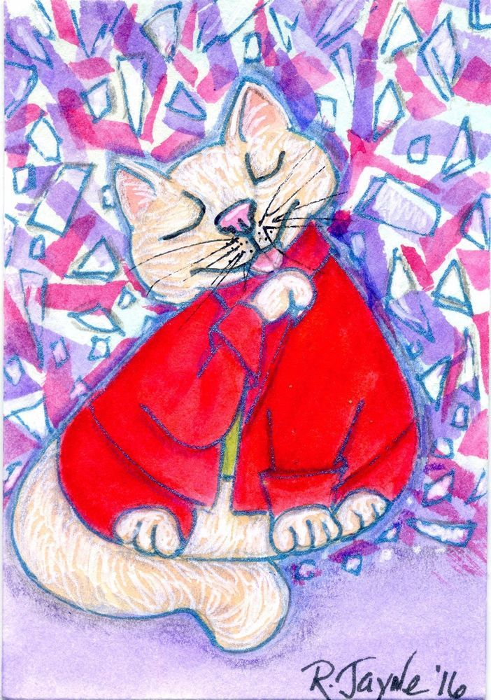 NFAC August Feline Nation Hillary's Pantsuit ACEO by Robin Jayne #OutsiderArt