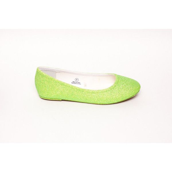 Glitter Key Lime Green Ballet Flats Slippers Shoes ($50) ❤ liked on Polyvore featuring shoes, flats, ballet shoes, silver, slip ons, women's shoes, slip on shoes, ballet flats, slip-on shoes and slip on flats