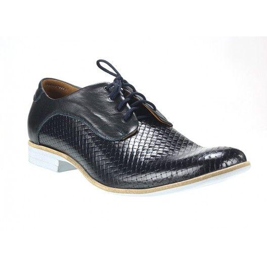 Pánske kožené topánky čierne PT124 - manozo.hu
