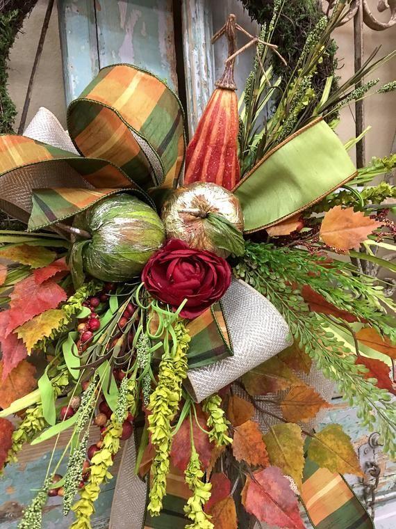 fall wreath thanksgiving wreath fall door decor etsy