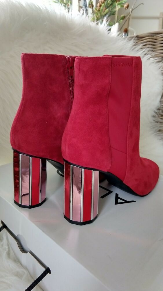 1934da882 NEW-ALDO Red Leather Suede Mirror Block Heel Ankle Boots Size 8 #fashion  #clothing #shoes #accessories #womensshoes #boots (ebay link)