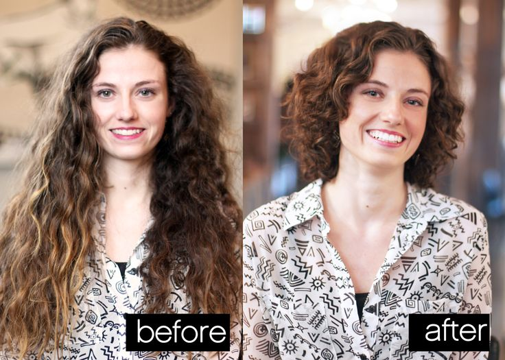 Huge transformation. The medium length hair is so flattering and takes away the weight of her hair.