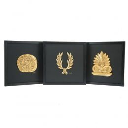 Set of 3 Handmade Wall or Table Ornaments. Athenian Owl Coin, Antefix & Laurel Wreath Design. Gold Patinated on Genuine Black Leather, Framed 11.8'' (30cm)