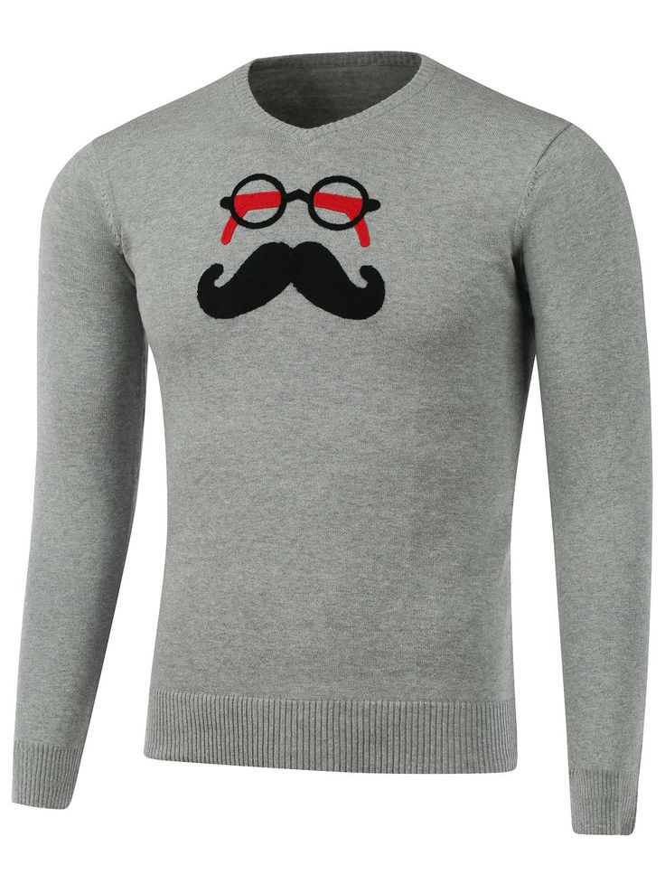 Glasses Beard Patch V Neck Knitwear #CLICK! #clothing, #shoes, #jewelry, #women, #men, #hats, #watches