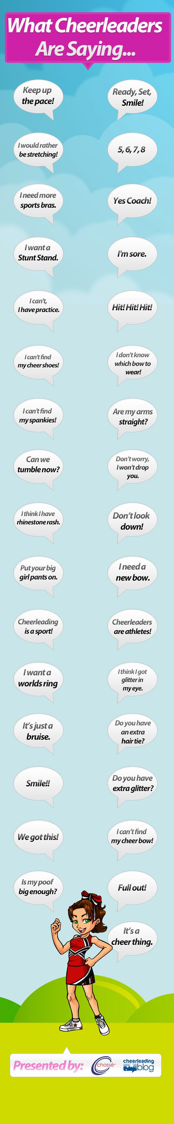 "The ""yes coach; I can't find my  cheer shoes or spankies; Which bow do I wear"" sayings are legit"
