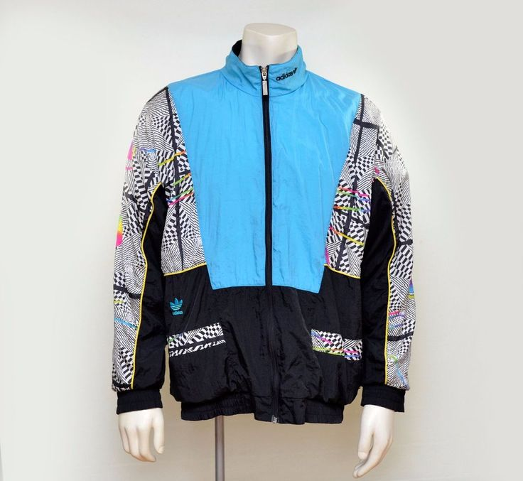 Vintage ADIDAS nylon track jacket blue geometric abstract shapes 38/40 fits XL #adidas #CoatsJackets