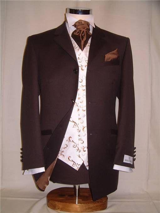 chocolate brown grooms suit