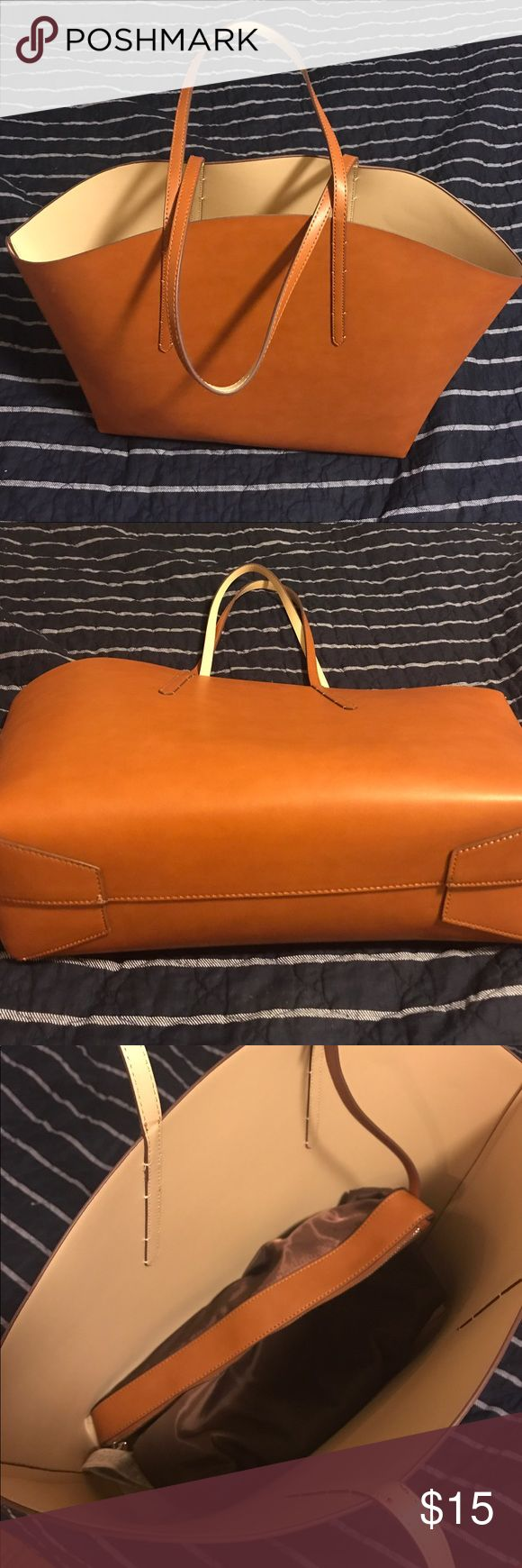Zara Tote Bag Large tote bag with removable inner pouch (not real leather). Used only once. Zara Bags Totes
