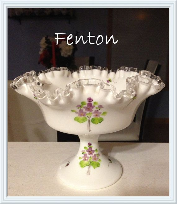 Fenton Milk Glass Footed Compote Bowl, Artist Signed, Gwen Moore, Violets in the…