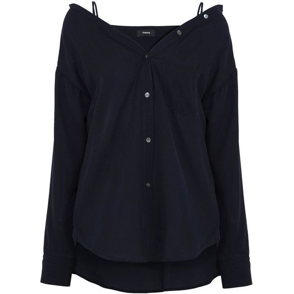 Theory Tamelee off-the-shoulder silk top ($410) via Polyvore featuring tops, navy, strappy top, navy shirt, navy blue top, shirt top and navy off shoulder top