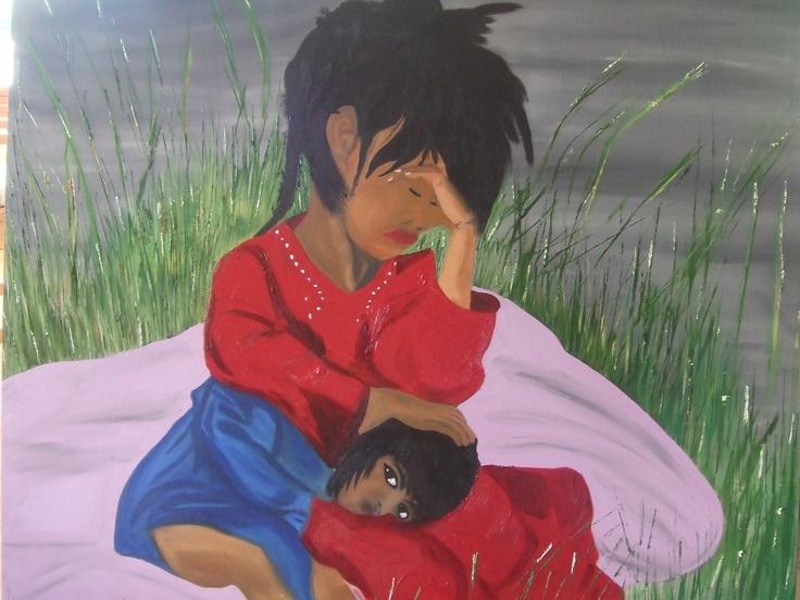 Oil on Canvas Forgotten Children