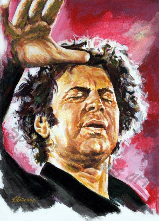 Μίκης Θεοδωράκης πορτραίτο, αφίσα, αυθεντικός πίνακας ζωγραφικής, πόστερ