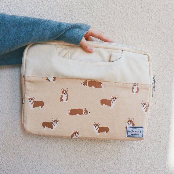 Laptop Bag / Laptop Pouch / MacBook Case 13 – 14 inches / Corgi Dog / Japan/Korea Fabric / 815am