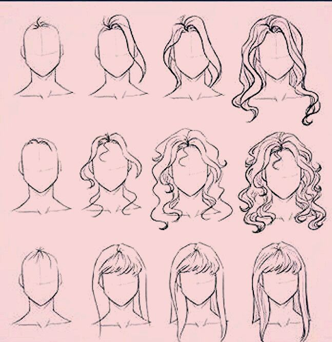 Drawing Straight Hair Long Hair Wavy Hair And Drawing Bangs Hairstyle Drawing Examples For Fashion Sketching In 2020 Anime Hair Art Sketches Anime