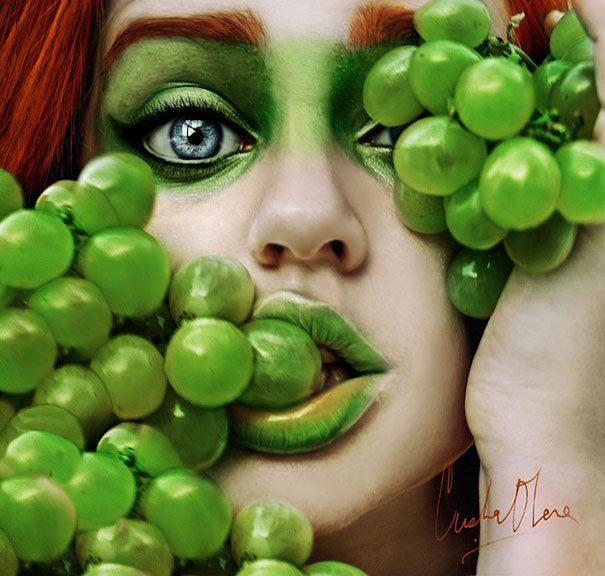 Fruity Self-Portraits by 16-Year-Old Cristina Otero | Bored PandaSelf Portraits, Green, Makeup, Cristina Butte, Portraits Photography, Tutti Frutti, Fruit Art, Food Recipe, Tuttifrutti