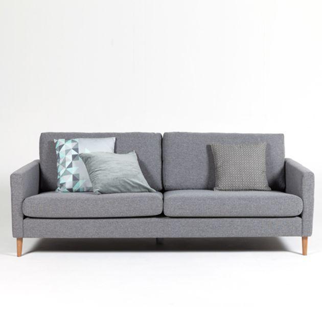 Canapé en tissu L 220 pieds en chêne Adagio - Gris chiné